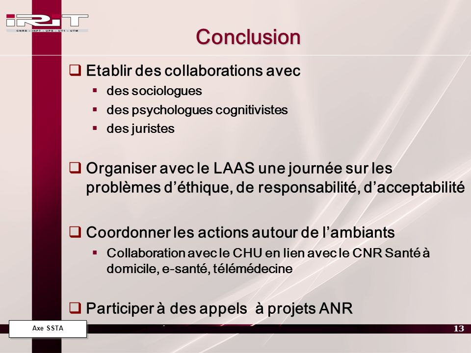 Conclusion Etablir des collaborations avec