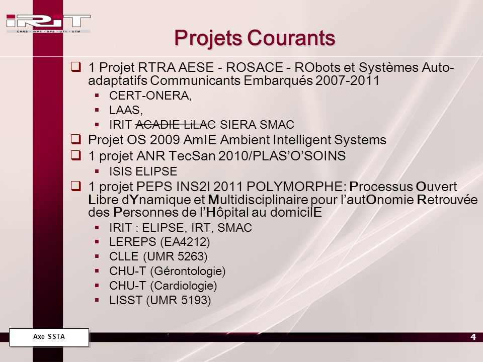 Projets Courants 1 Projet RTRA AESE - ROSACE - RObots et Systèmes Auto-adaptatifs Communicants Embarqués 2007-2011.