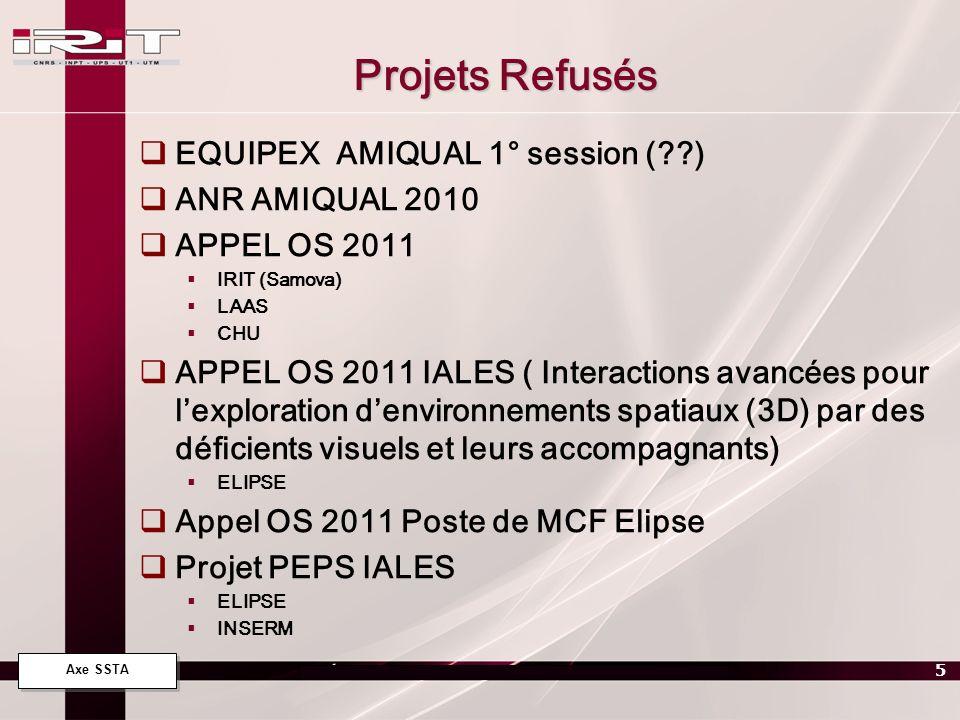Projets Refusés EQUIPEX AMIQUAL 1° session ( ) ANR AMIQUAL 2010