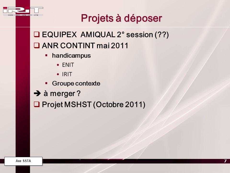 Projets à déposer EQUIPEX AMIQUAL 2° session ( ) ANR CONTINT mai 2011