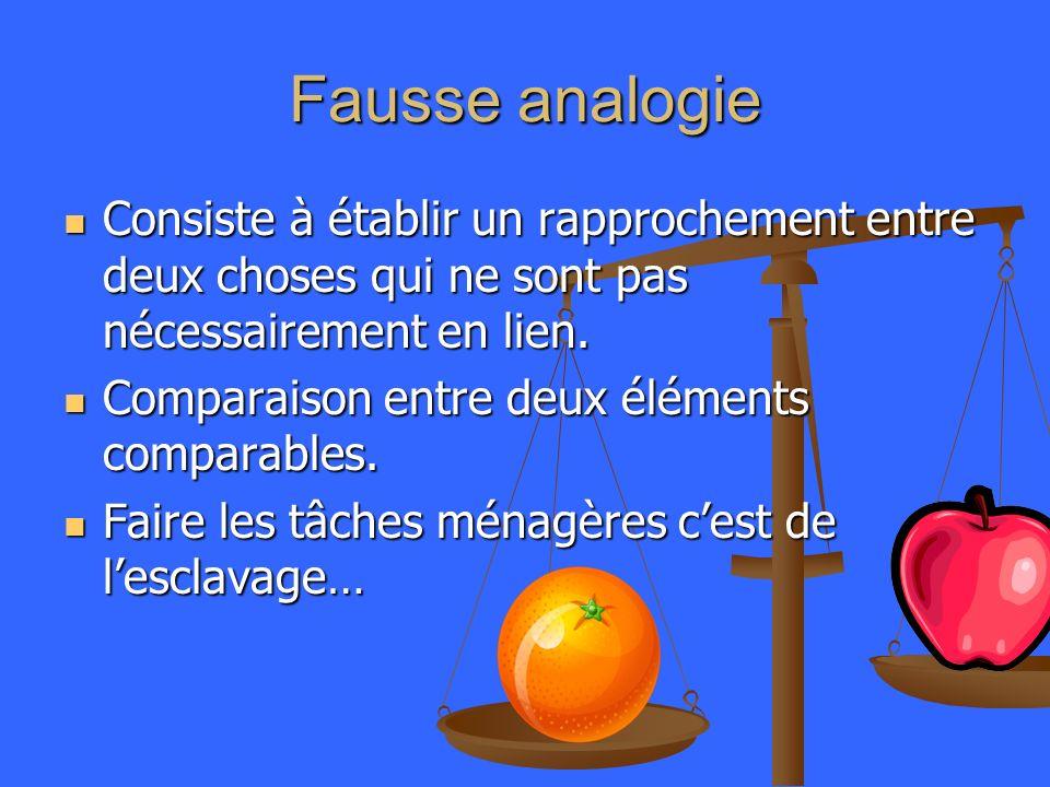 Fausse analogie Consiste à établir un rapprochement entre deux choses qui ne sont pas nécessairement en lien.