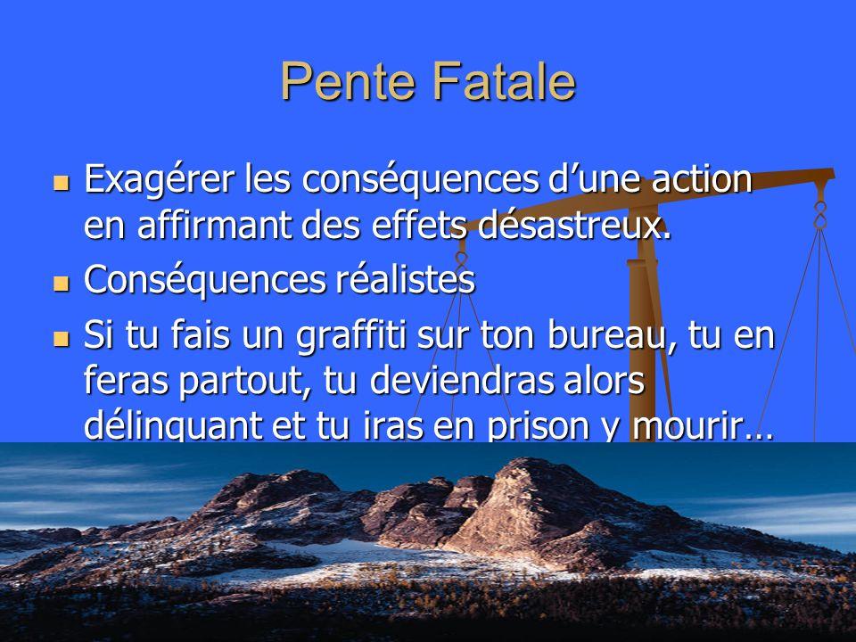 Pente Fatale Exagérer les conséquences d'une action en affirmant des effets désastreux. Conséquences réalistes.