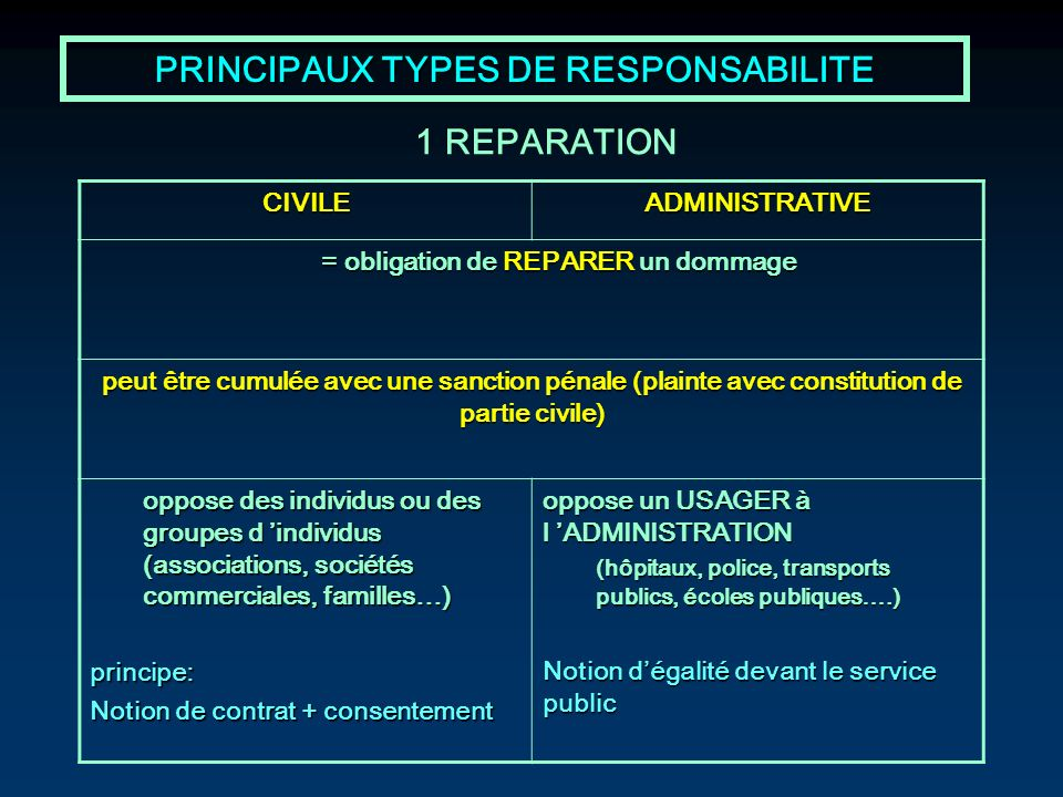 PRINCIPAUX TYPES DE RESPONSABILITE