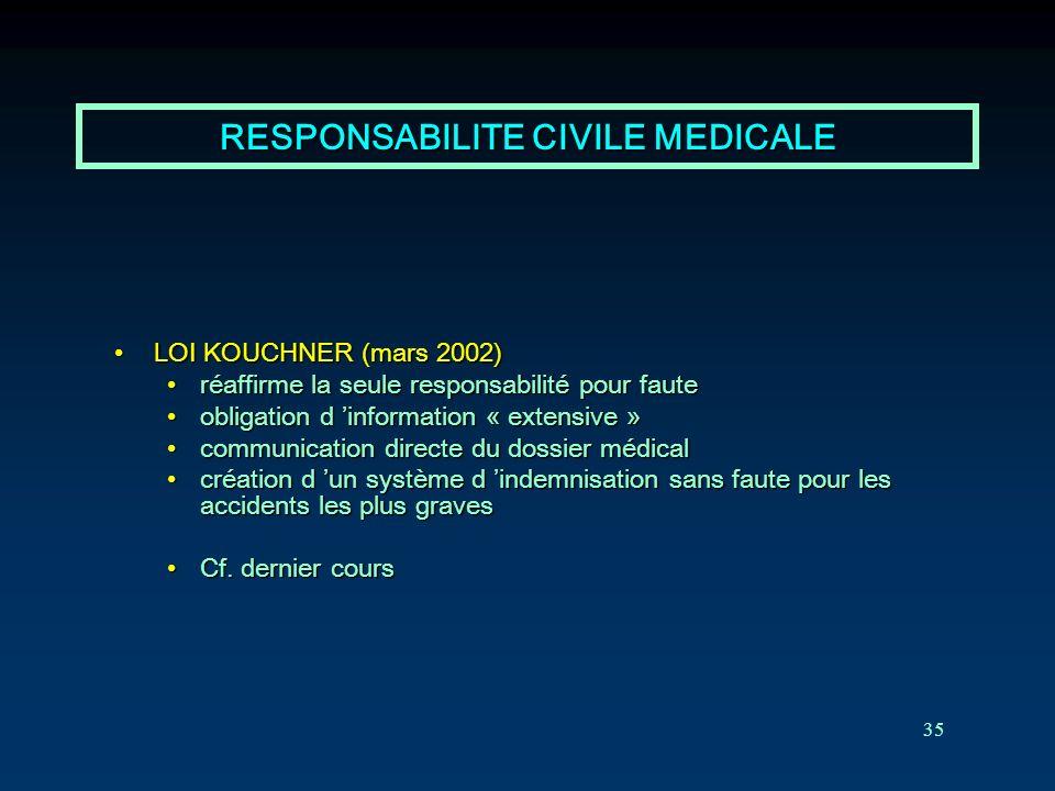 RESPONSABILITE CIVILE MEDICALE