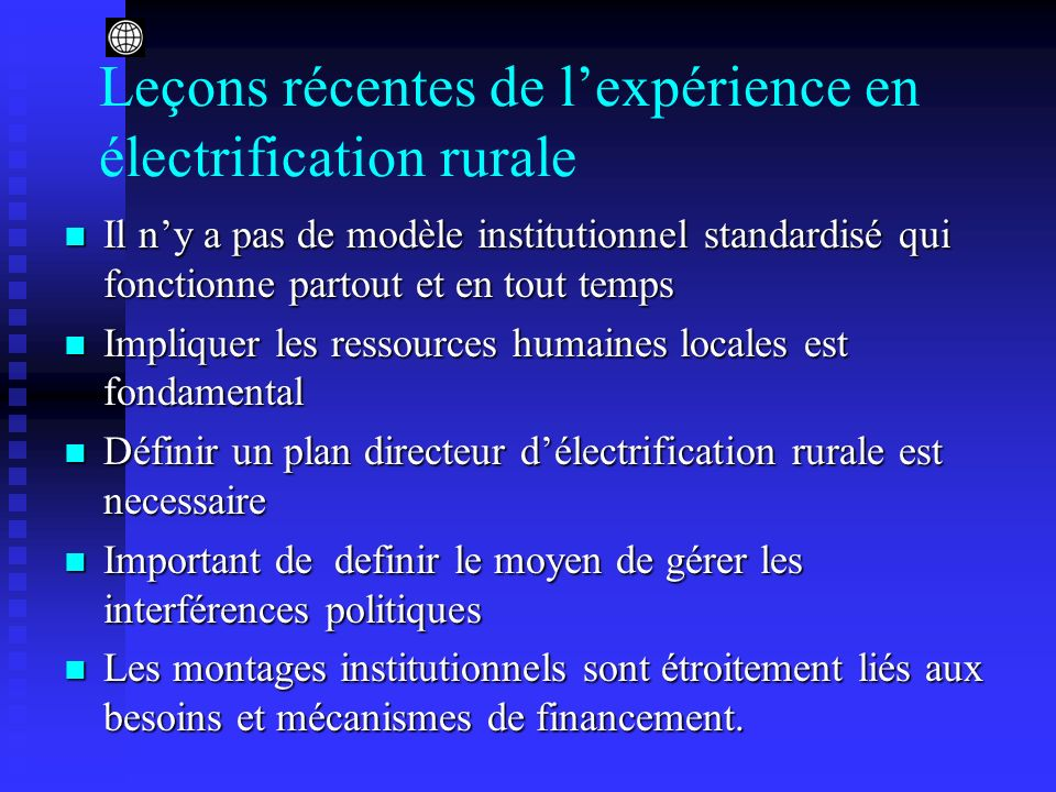 Leçons récentes de l'expérience en électrification rurale