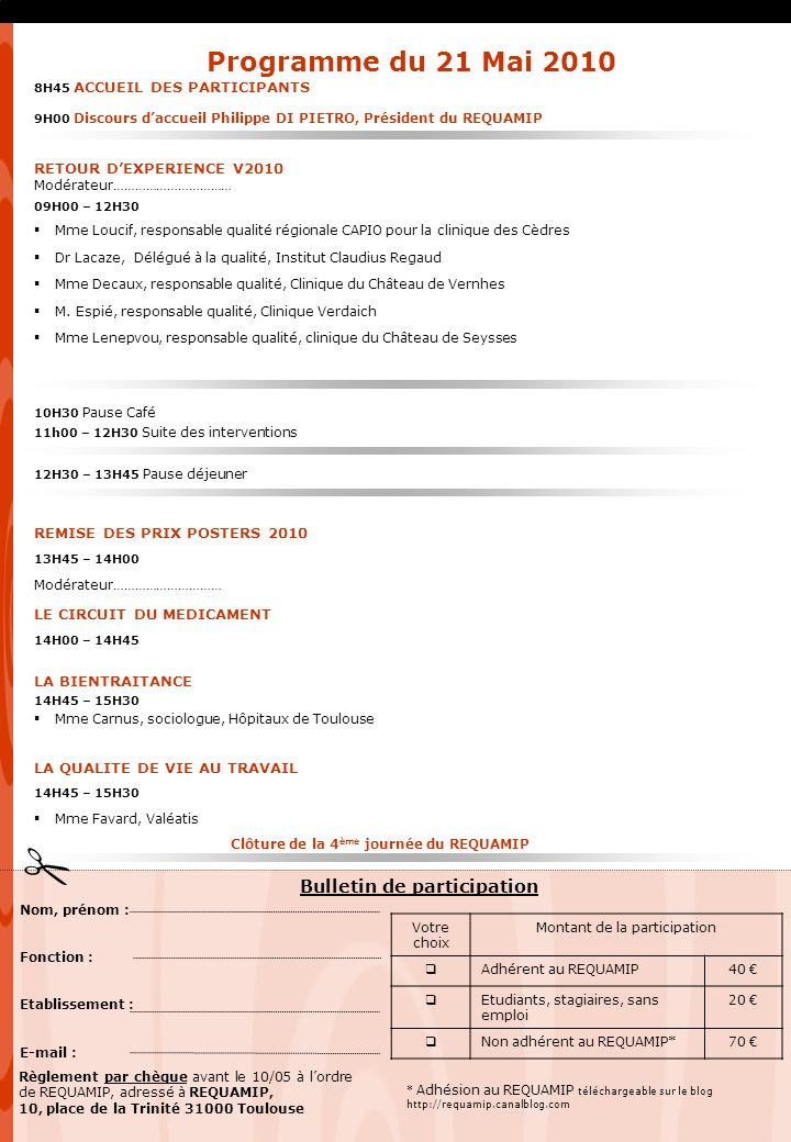 Clôture de la 4ème journée du REQUAMIP Bulletin de participation