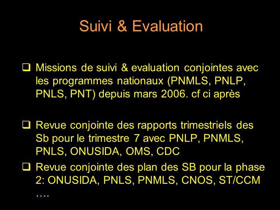 Suivi & Evaluation Missions de suivi & evaluation conjointes avec les programmes nationaux (PNMLS, PNLP, PNLS, PNT) depuis mars 2006. cf ci après.