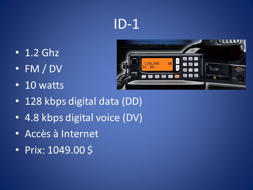 ID-1 1.2 Ghz FM / DV 10 watts 128 kbps digital data (DD)