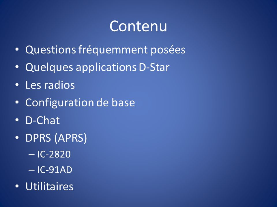 Contenu Questions fréquemment posées Quelques applications D-Star