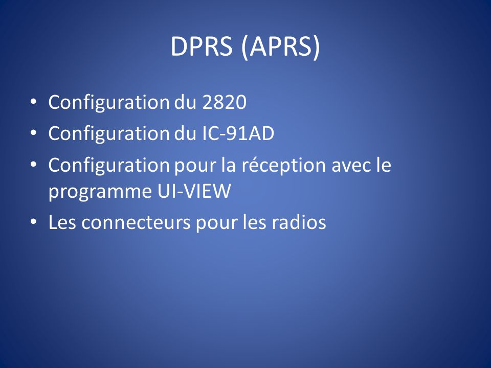 DPRS (APRS) Configuration du 2820 Configuration du IC-91AD