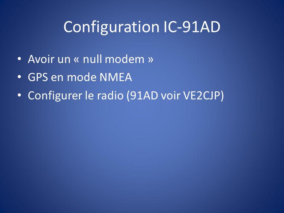 Configuration IC-91AD Avoir un « null modem » GPS en mode NMEA