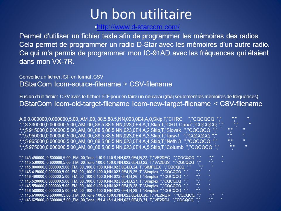 Un bon utilitaire http://www.d-starcom.com/
