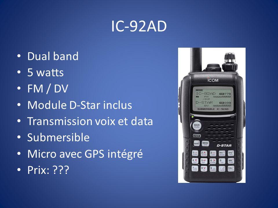 IC-92AD Dual band 5 watts FM / DV Module D-Star inclus