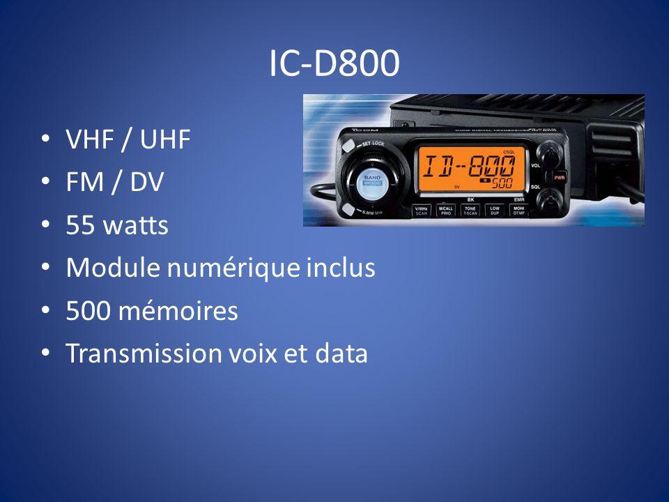 IC-D800 VHF / UHF FM / DV 55 watts Module numérique inclus