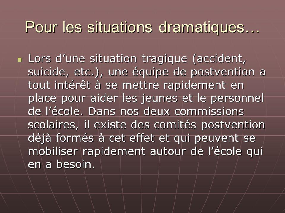 Pour les situations dramatiques…