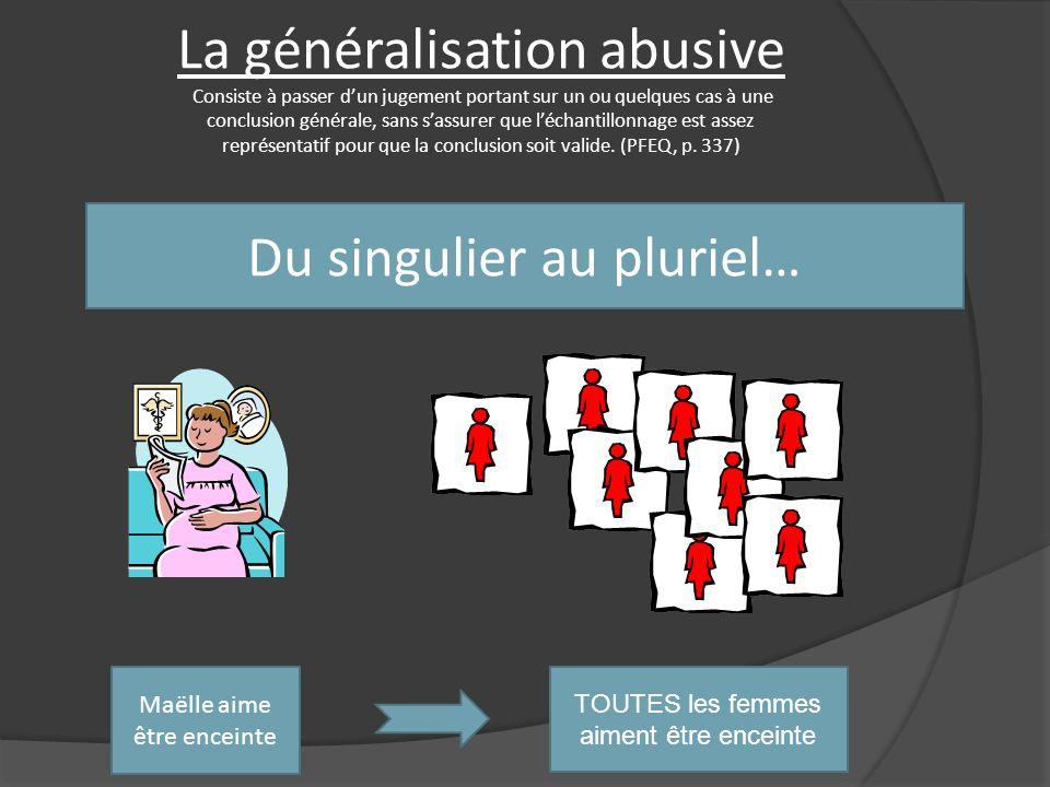 La généralisation abusive Consiste à passer d'un jugement portant sur un ou quelques cas à une conclusion générale, sans s'assurer que l'échantillonnage est assez représentatif pour que la conclusion soit valide. (PFEQ, p. 337)