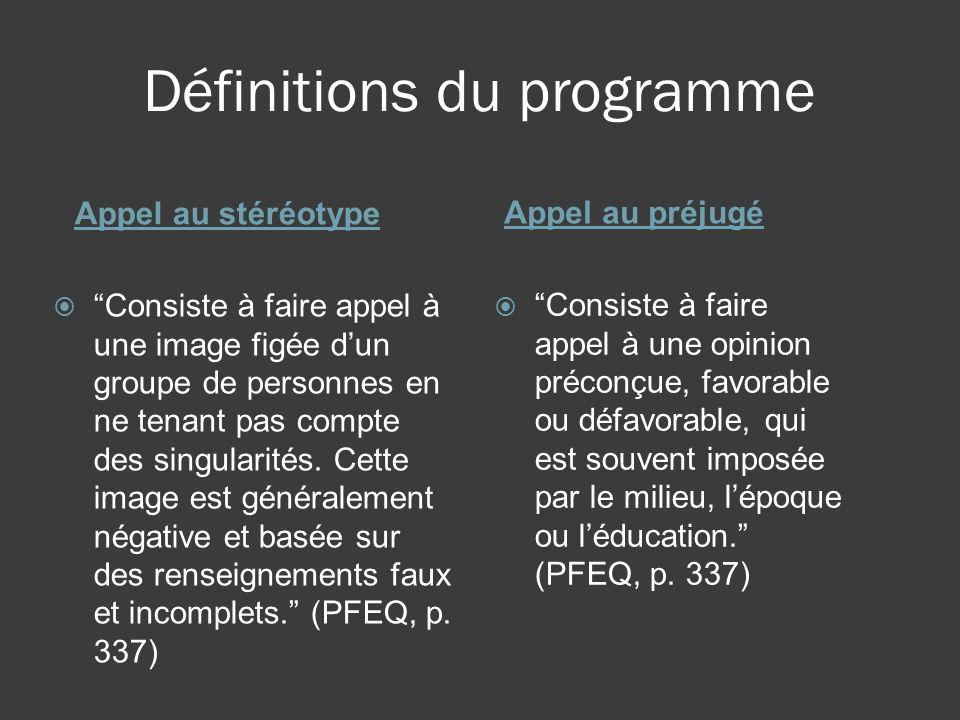 Définitions du programme