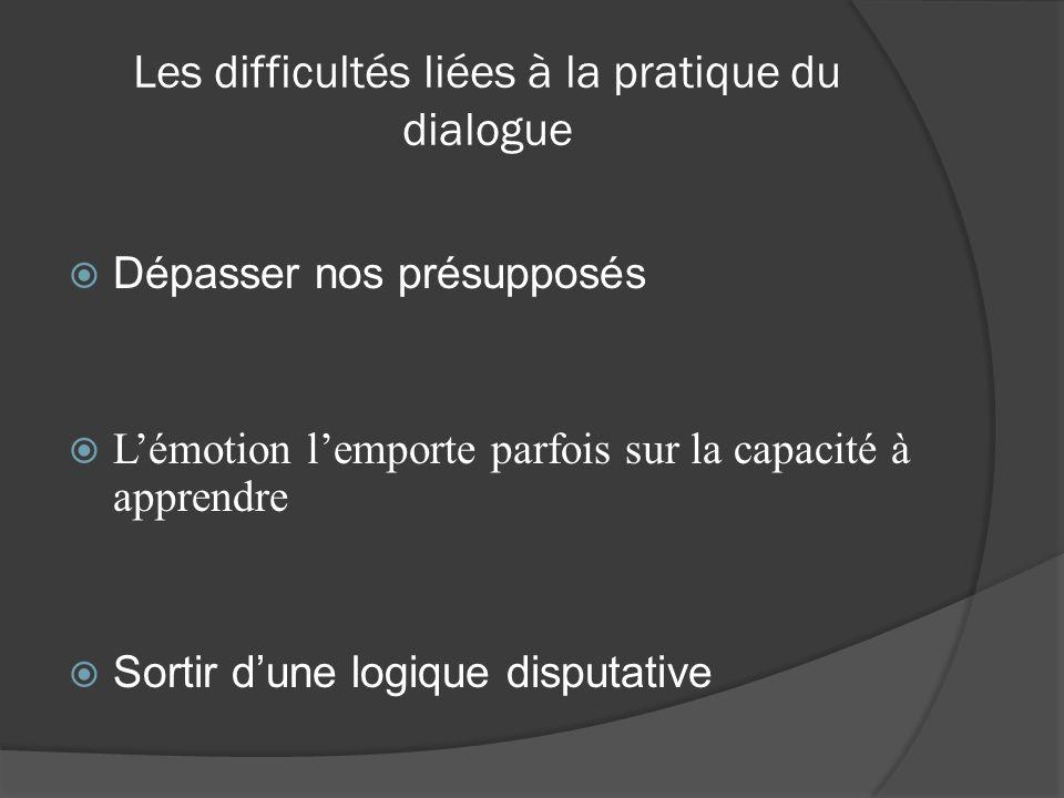 Les difficultés liées à la pratique du dialogue