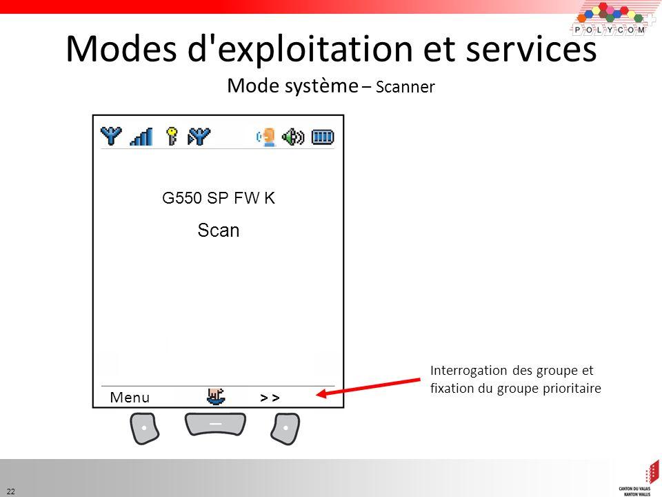 Modes d exploitation et services Mode système – Scanner