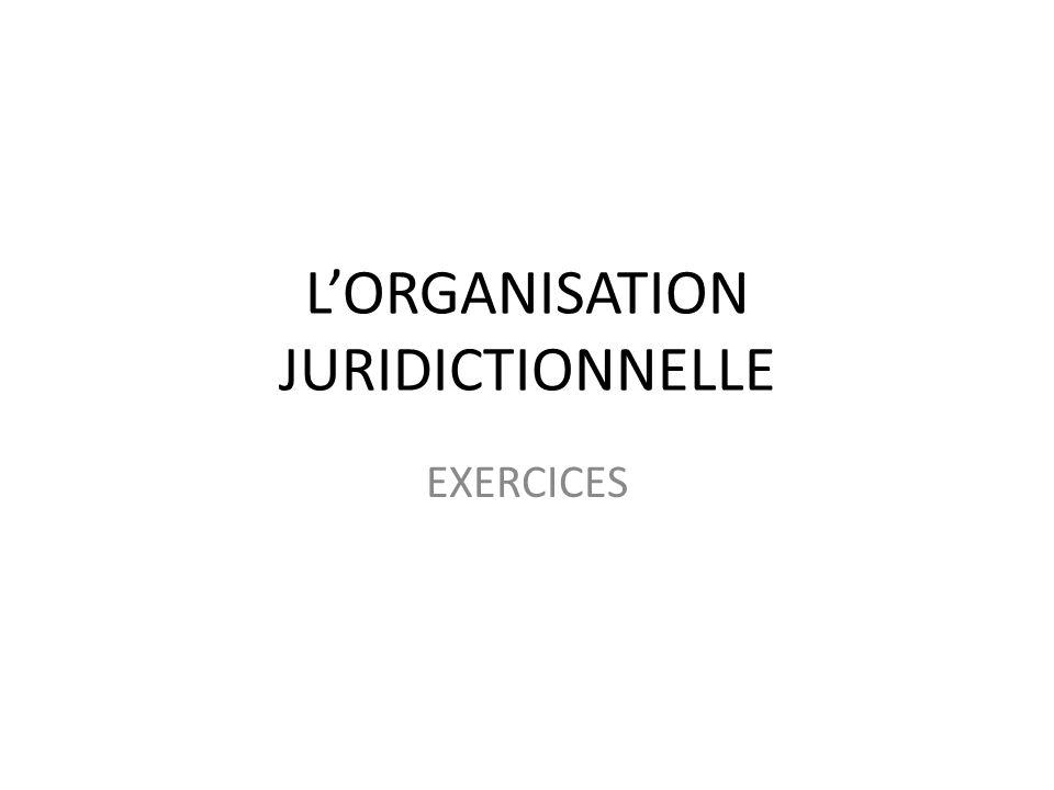 L'ORGANISATION JURIDICTIONNELLE