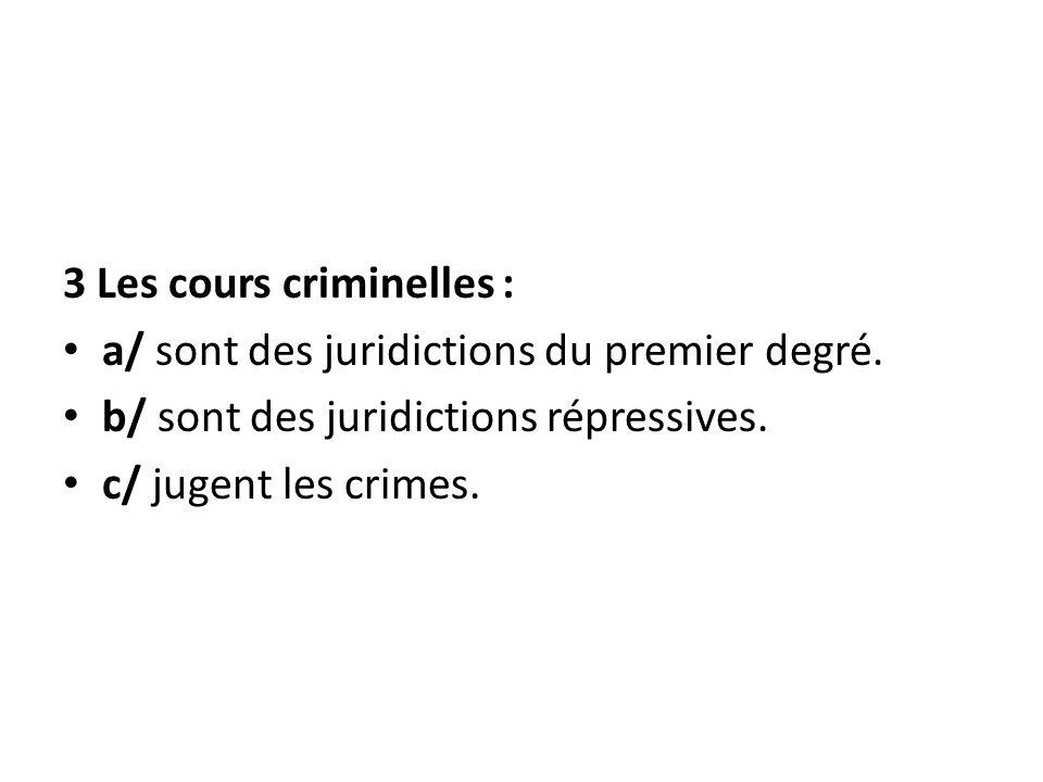 3 Les cours criminelles :