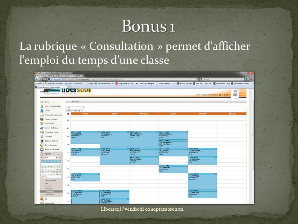 Bonus 1 La rubrique « Consultation » permet d'afficher l'emploi du temps d'une classe.