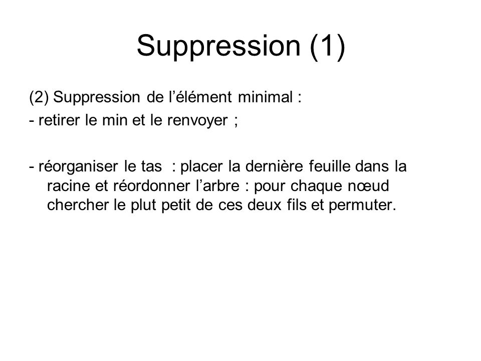Suppression (1) (2) Suppression de l'élément minimal :