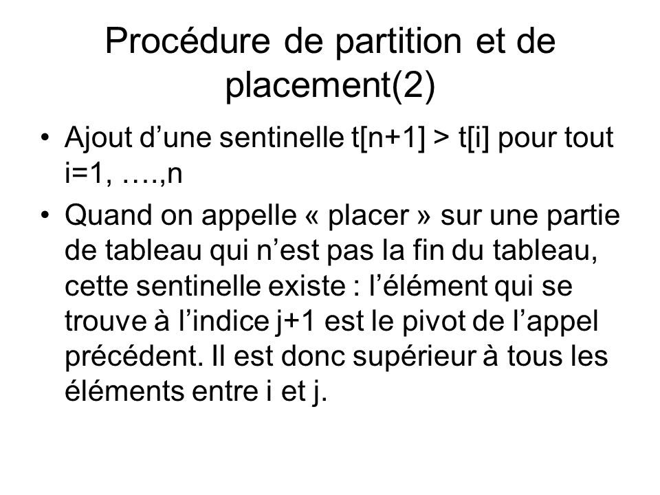 Procédure de partition et de placement(2)