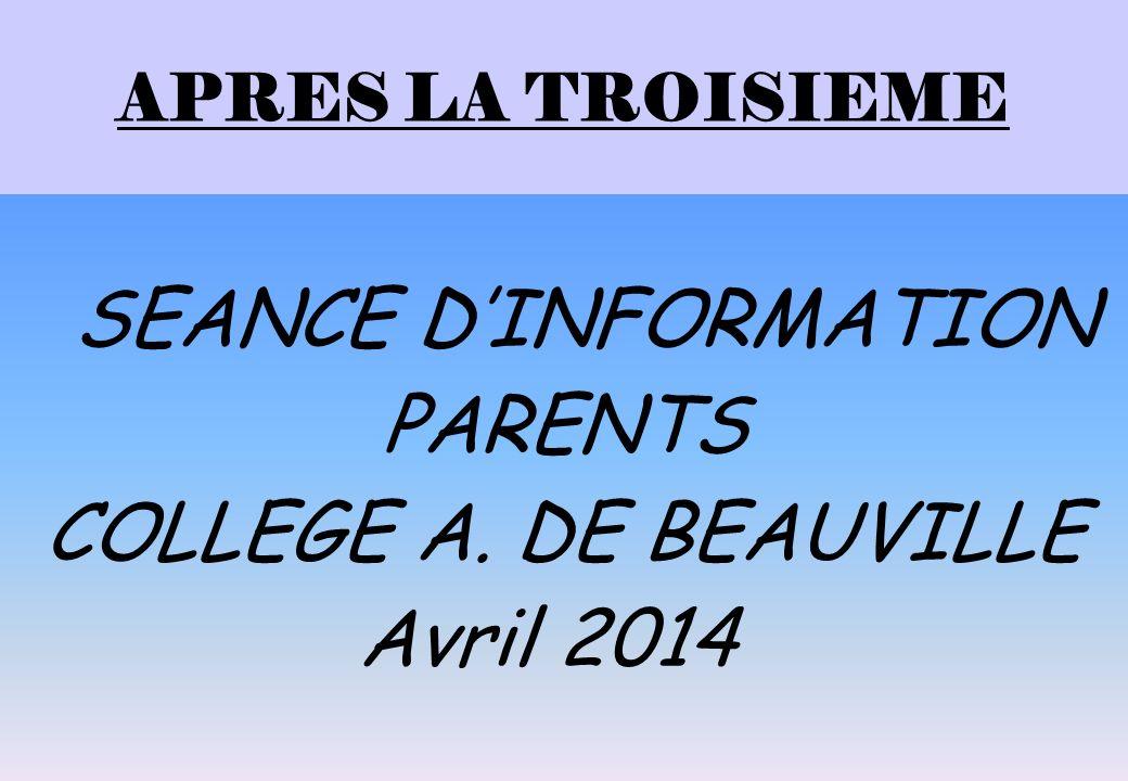 PARENTS COLLEGE A. DE BEAUVILLE Avril 2014 APRES LA TROISIEME