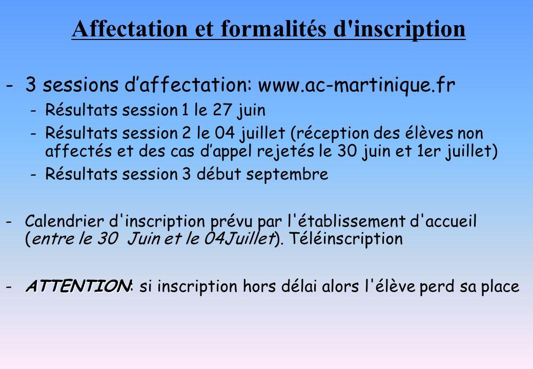 Affectation et formalités d inscription