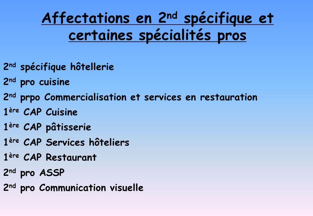Affectations en 2nd spécifique et certaines spécialités pros