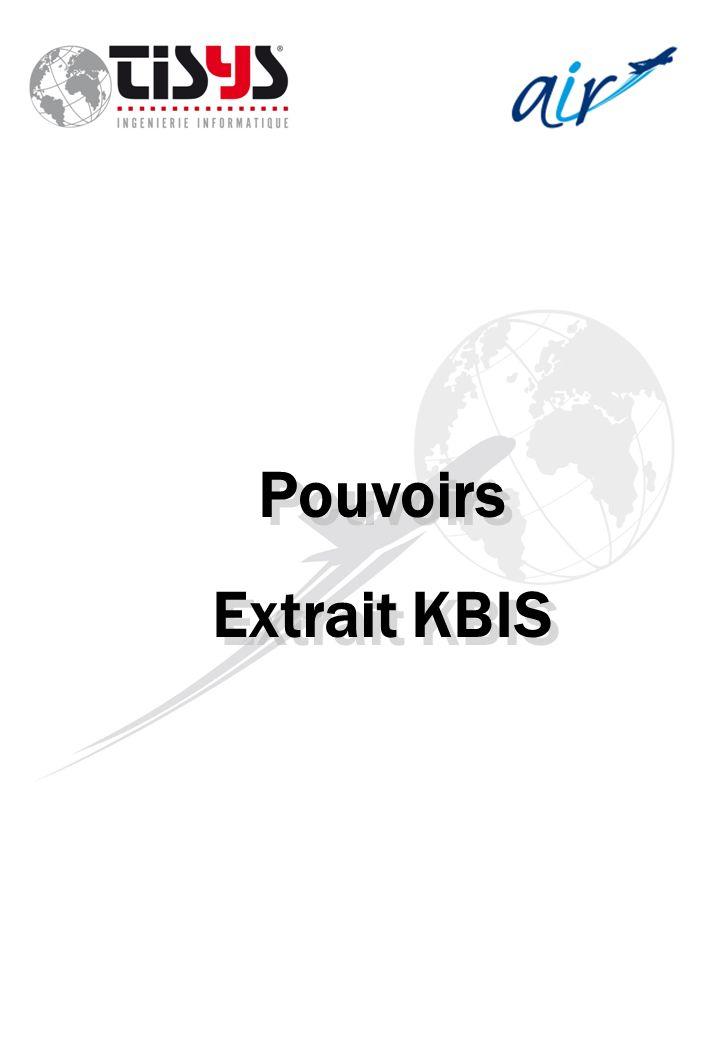Pouvoirs Extrait KBIS