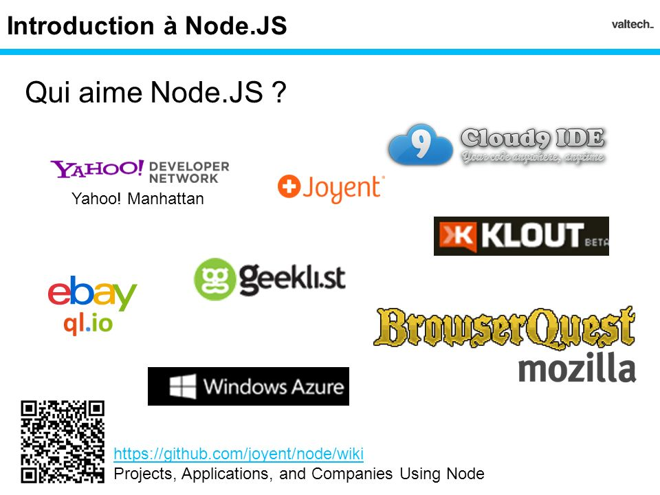 Qui aime Node.JS Introduction à Node.JS Yahoo! Manhattan