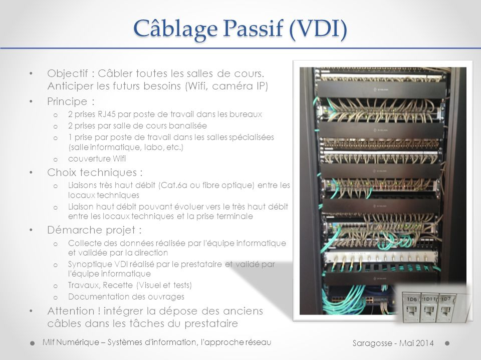 Câblage Passif (VDI) Objectif : Câbler toutes les salles de cours. Anticiper les futurs besoins (Wifi, caméra IP)
