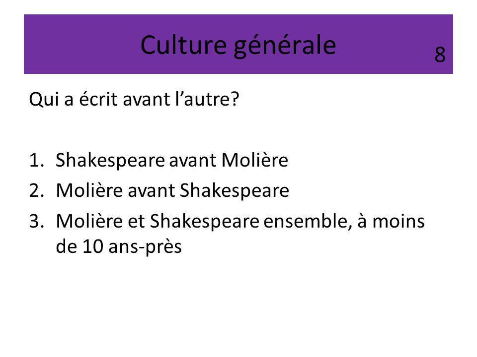 Culture générale 8 Qui a écrit avant l'autre