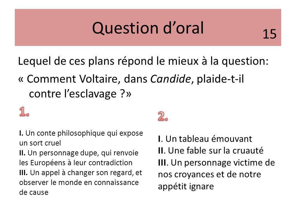 Question d'oral 15. Lequel de ces plans répond le mieux à la question: « Comment Voltaire, dans Candide, plaide-t-il contre l'esclavage »