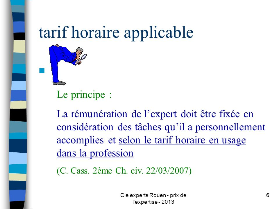 tarif horaire applicable