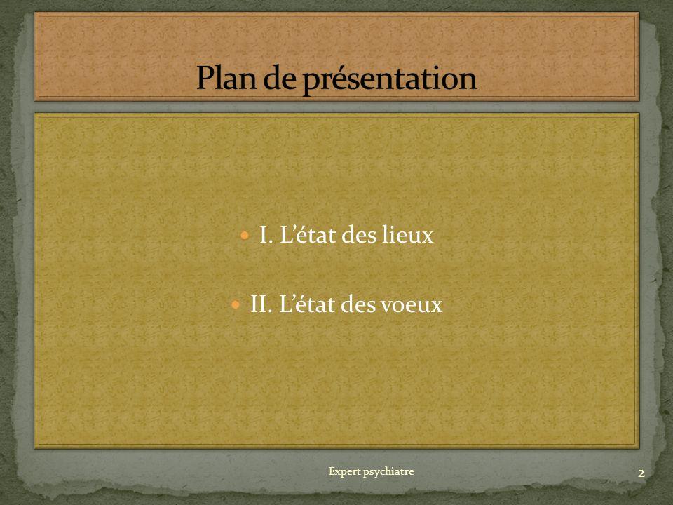 Plan de présentation I. L'état des lieux II. L'état des voeux