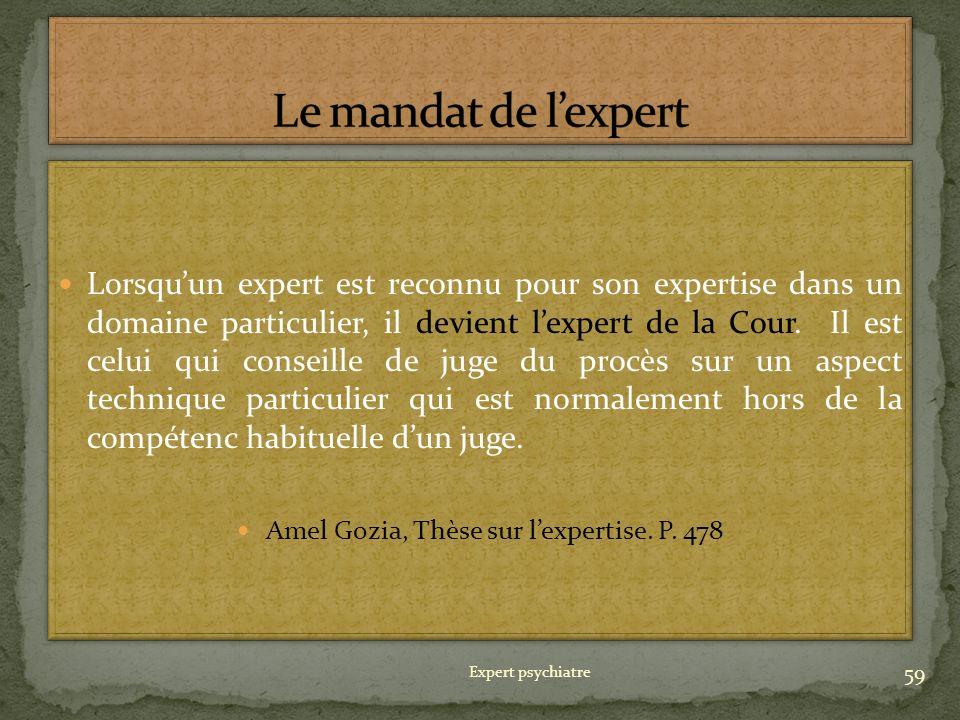 Amel Gozia, Thèse sur l'expertise. P. 478