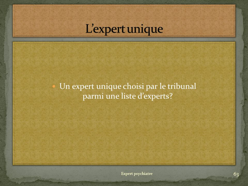 Un expert unique choisi par le tribunal parmi une liste d'experts