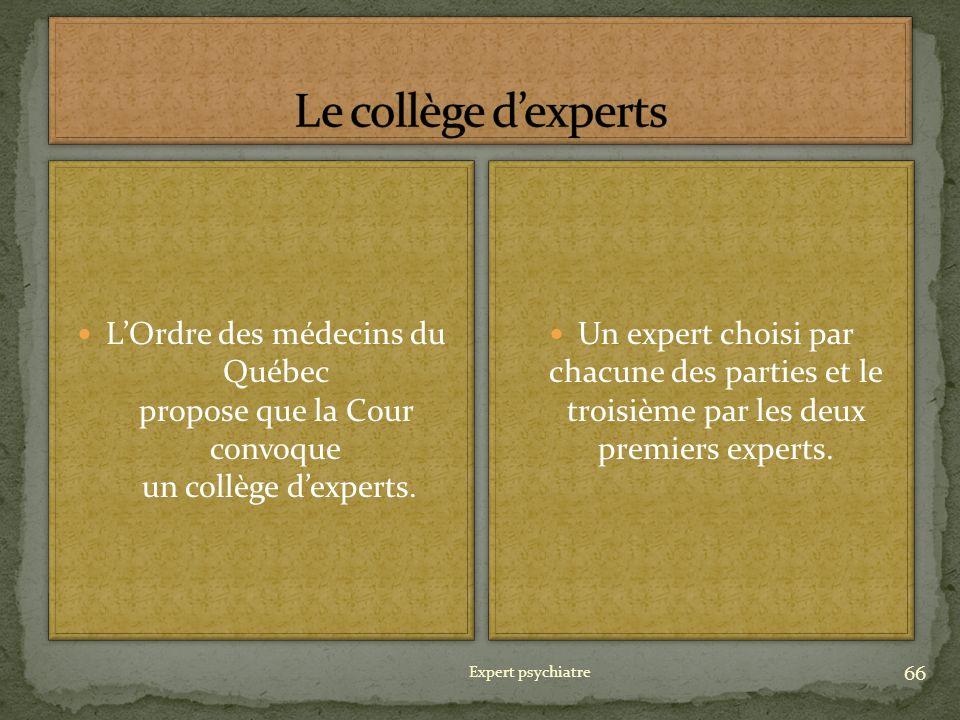 Le collège d'experts L'Ordre des médecins du Québec propose que la Cour convoque un collège d'experts.
