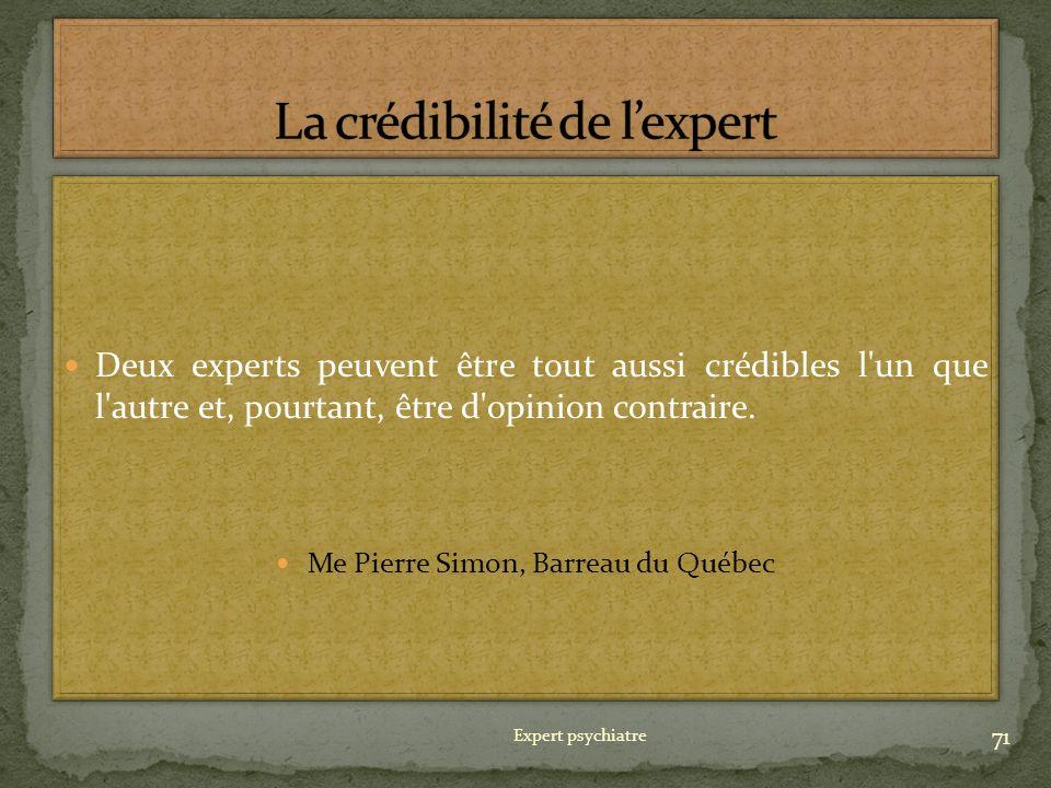La crédibilité de l'expert