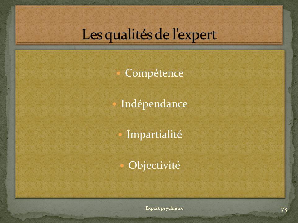 Les qualités de l'expert