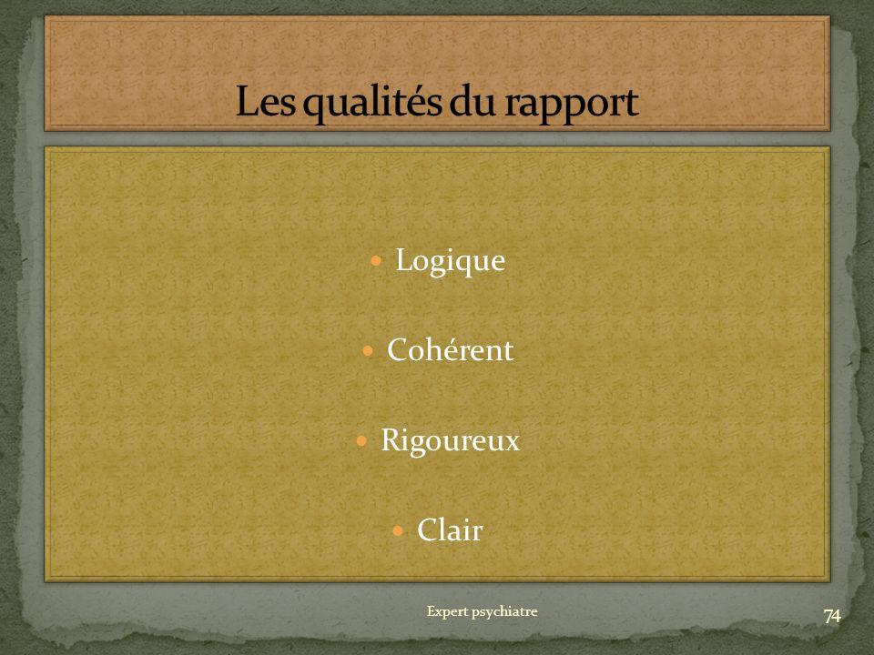 Les qualités du rapport