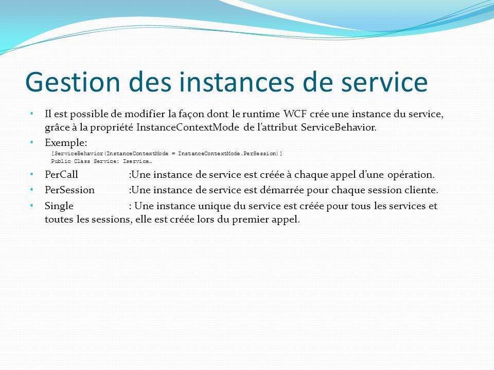 Gestion des instances de service