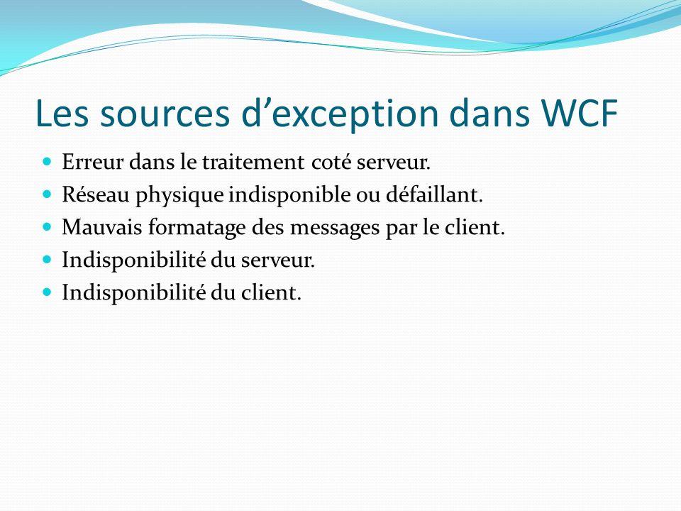 Les sources d'exception dans WCF