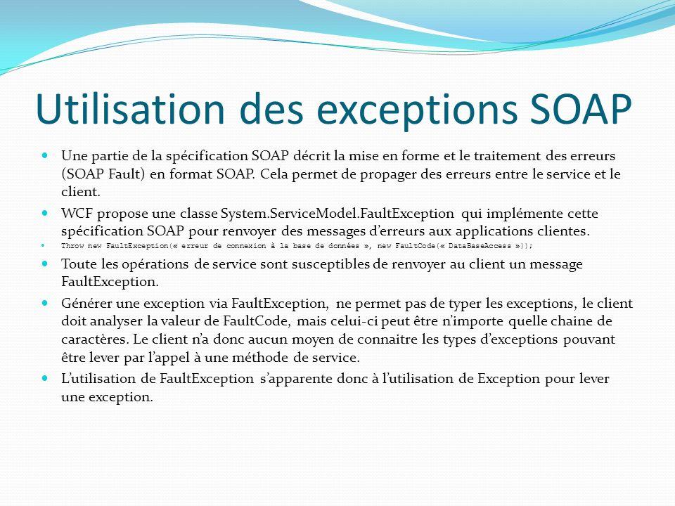 Utilisation des exceptions SOAP