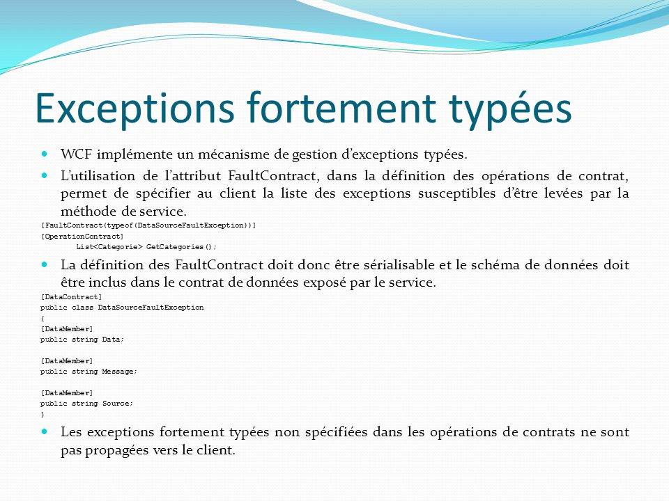 Exceptions fortement typées