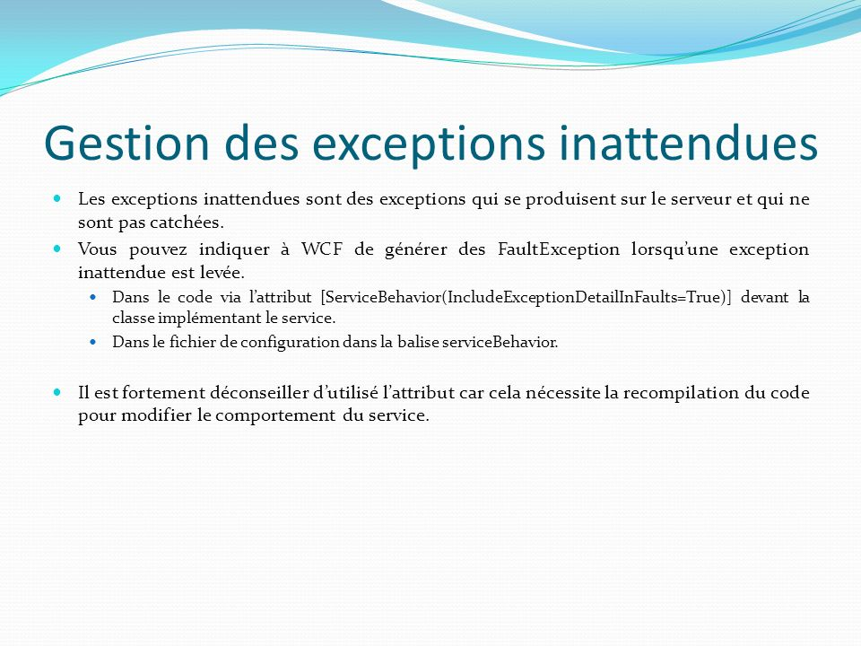 Gestion des exceptions inattendues