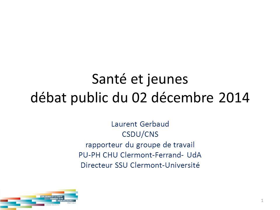 Santé et jeunes débat public du 02 décembre 2014